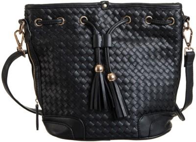 Peaubella Women, Girls Black Leatherette Sling Bag