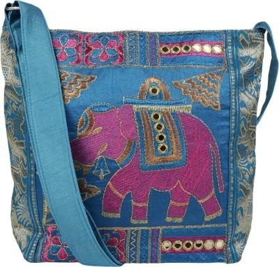 Fashiondrobe Girls, Women Casual Blue Canvas, Cotton, Silk Sling Bag