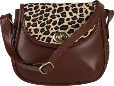 Berrypeckers Women Casual Beige, Brown PU Sling Bag