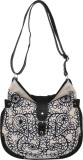 Pick Pocket Women Black Canvas Sling Bag