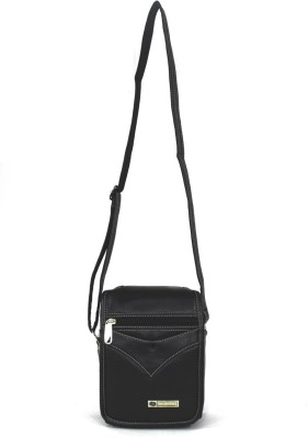 My Choice Men Black PU Sling Bag