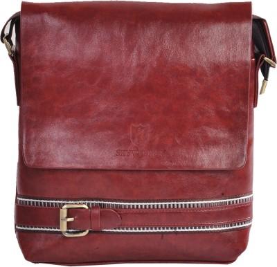 LeCobbs Men Tan Leatherette Sling Bag