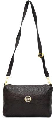 inkdice Girls, Women Brown, Black PU, Polyester Sling Bag