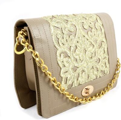 Claude Lorrain Women Casual Beige Genuine Leather Sling Bag