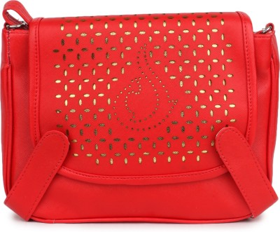 Star Style Women Casual Red PU Sling Bag
