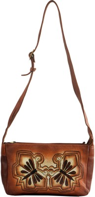 Balona Women, Girls Casual, Evening/Party Brown Genuine Leather Sling Bag