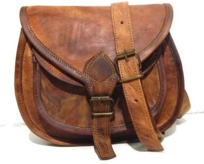 Reyu Girls Casual Brown Genuine Leather Sling Bag