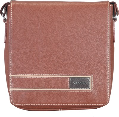 Adamis Men Tan Genuine Leather Sling Bag