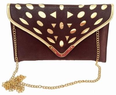 Craftbazaar Women Evening/Party Brown Leatherette Sling Bag