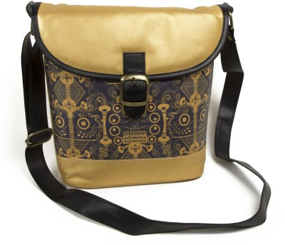 Mad(e) in India Women Casual Gold PU Sling Bag