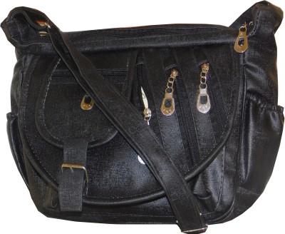 JTM Trading Women Black PU Sling Bag