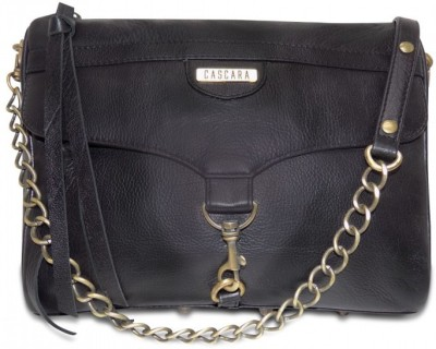 Cascara Women Black Genuine Leather Sling Bag