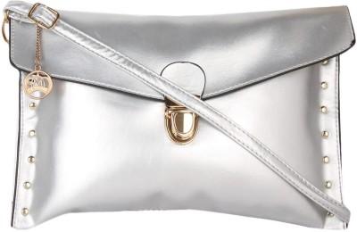 Moedbuille Women Silver PU Sling Bag