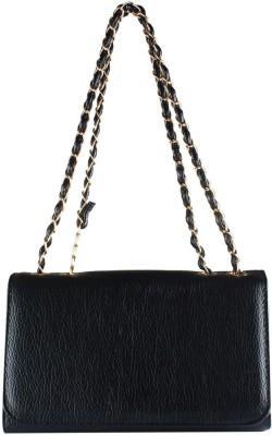 Fiza Women Black Leatherette Sling Bag