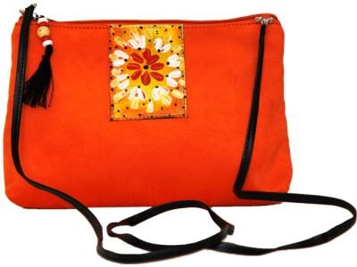 Fabulloso Women Casual Orange Genuine Leather Sling Bag