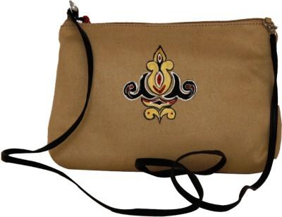 Fabulloso Women Casual Beige Genuine Leather Sling Bag