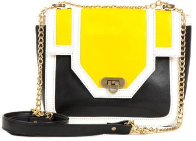 Fabulloso Women Yellow Genuine Leather Sling Bag
