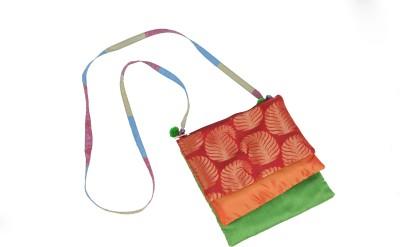 Bagkrafts Girls Red, Orange, Green Silk Sling Bag