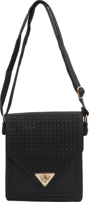 PST Women, Girls Black PU Sling Bag