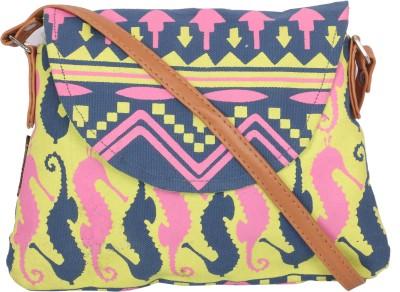 Kanvas Katha Girls, Women Blue Canvas Sling Bag