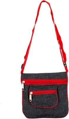 Bigzee Girls, Women Casual, Formal Black, Red Canvas Sling Bag