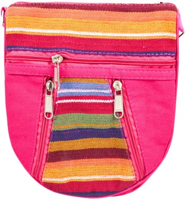 Mpkart Girls Casual Pink Jute, Cotton Sling Bag