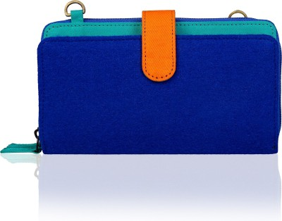 Lost & Found Women Blue Felt, Cotton Clutch