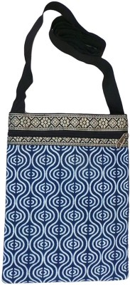 Bhamini Women Blue Cotton Sling Bag