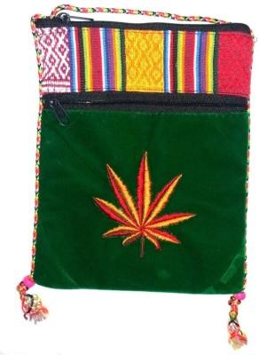 HR Handicrafts Girls, Boys Green Canvas Sling Bag