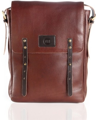 TLB Men Casual Brown Genuine Leather Sling Bag