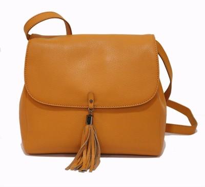 Gripp Girls, Women Orange Genuine Leather Sling Bag