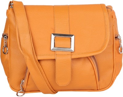 Fairdeals Women Tan PU Sling Bag