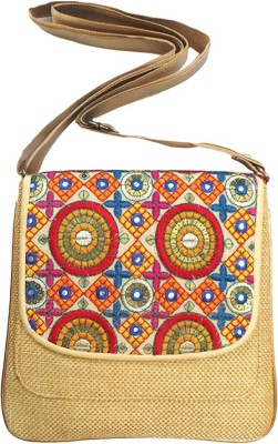 Bhamini Women Gold Jute Sling Bag