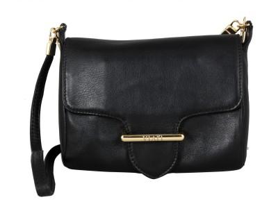 Viari Women Casual Black Genuine Leather Sling Bag