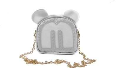 ILU Girls, Women Silver Genuine Leather Sling Bag