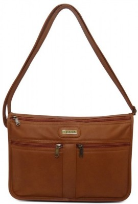 Cascara Women Tan Genuine Leather Sling Bag