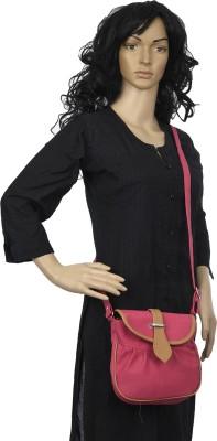 Diamonds World Women Pink Genuine Leather Sling Bag