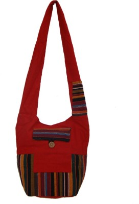 The Living Craft Women Red Canvas Sling Bag