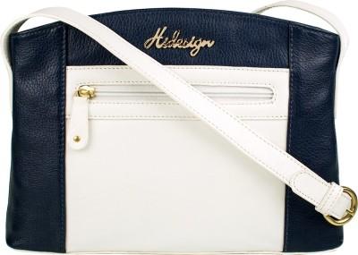 Hidesign Women White, Blue Genuine Leather Sling Bag