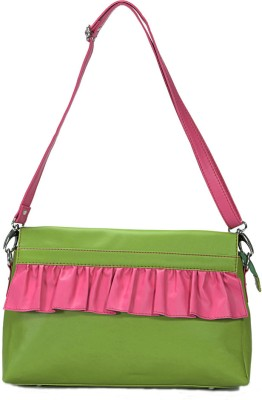 Borsavela Women Casual Green Genuine Leather Sling Bag