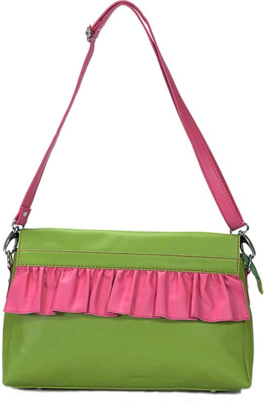 Borsavela Women Casual Green Genuine Leather Sling Bag Fairy Frill