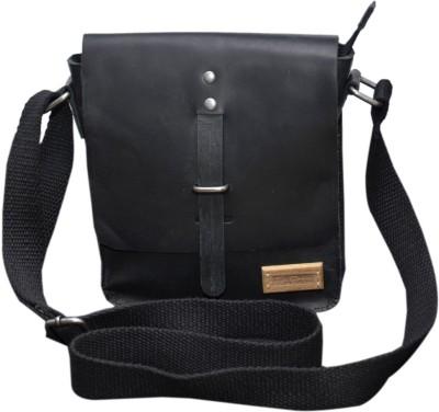 Le Craf Men, Women Black Genuine Leather Sling Bag
