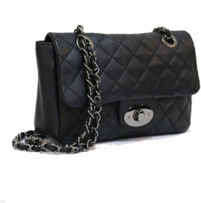 Gripp Girls, Women Black Genuine Leather Sling Bag