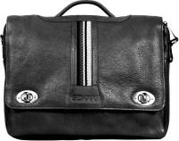 Scharf Men & Women Black Genuine Leather Messenger Bag
