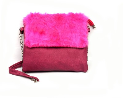 lasslee Women Pink PU Sling Bag