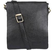 Armaan Leather Men & Women Black Genuine Leather Sling Bag