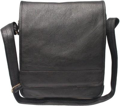 C Comfort Men, Women Casual Black Genuine Leather Sling Bag