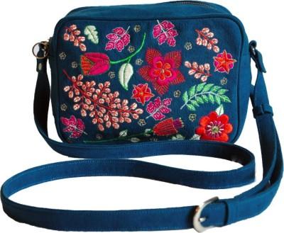 Dhruva Girls Blue Canvas Sling Bag