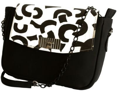 Demure Women Casual Black, White Canvas, PU Sling Bag