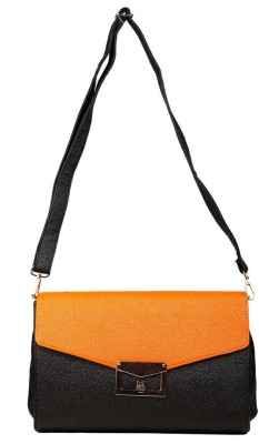 Just Women Women Casual Orange, Black Leatherette Sling Bag